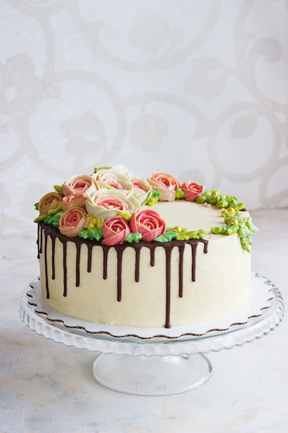 Superb Birthday Cake With Flowers Rose On White Surface Premium Photo Personalised Birthday Cards Cominlily Jamesorg