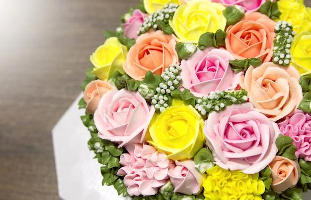 Birthday Cake With Flowers Free Photo