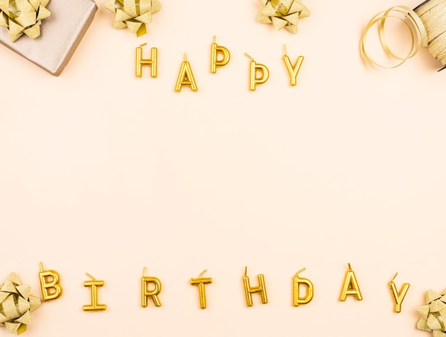 Birthday candles with present top view Premium Photo