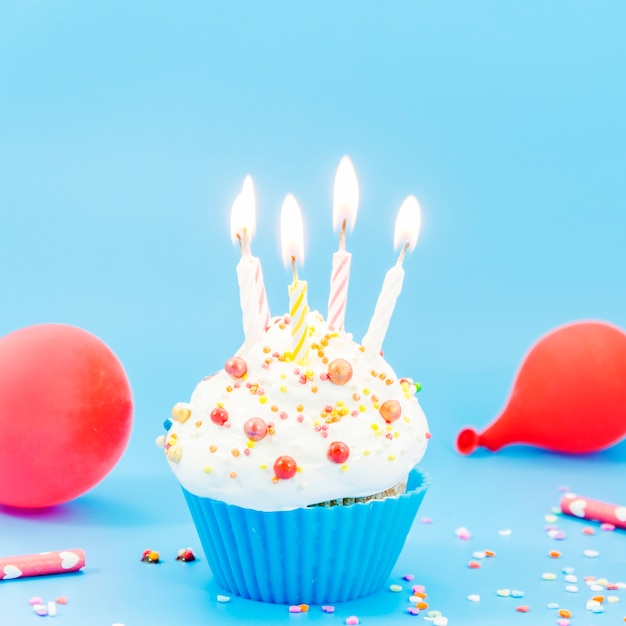 Birthday cupcake with candle Free Photo