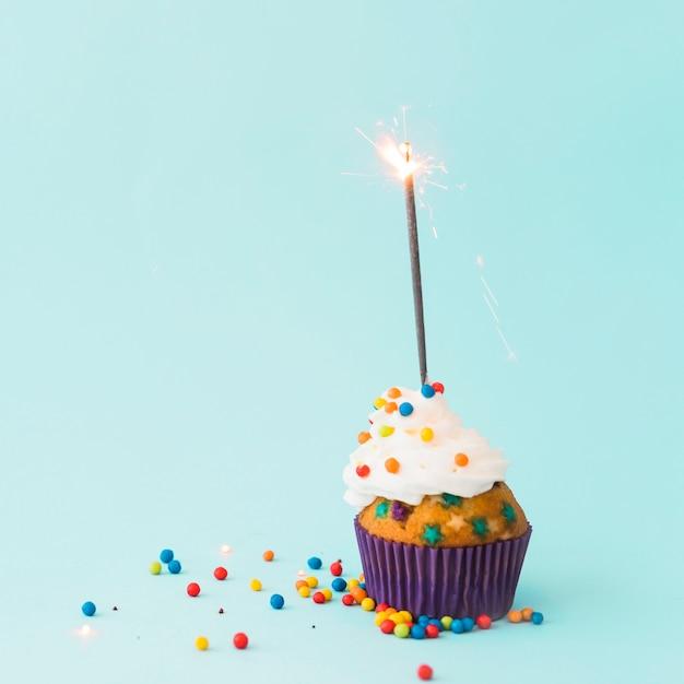 Birthday cupcake with sparkler Free Photo