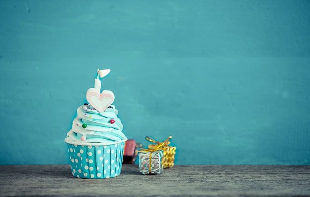 Birthday Cupcake With Sweet Heart Shape Of Marshmallow And