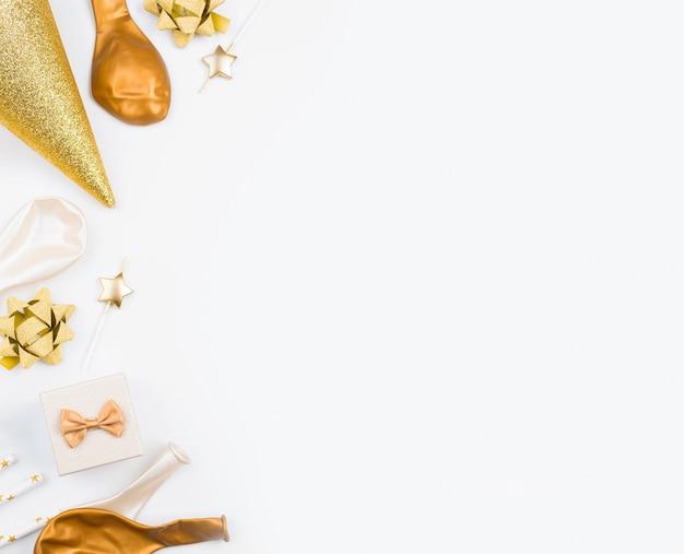 Birthday decorations on white background Free Photo
