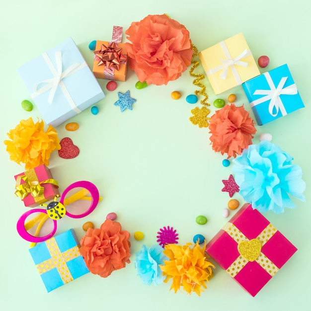 Birthday party background with festive decor Premium Photo