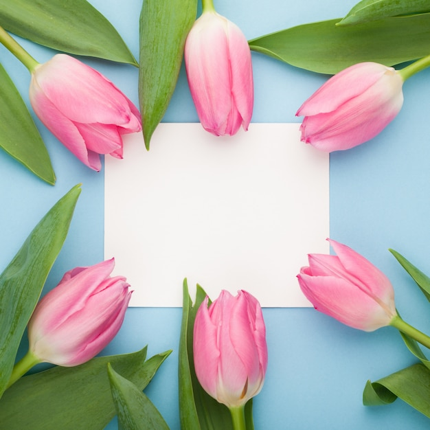Birthday or wedding mockup with tulip. Premium Photo
