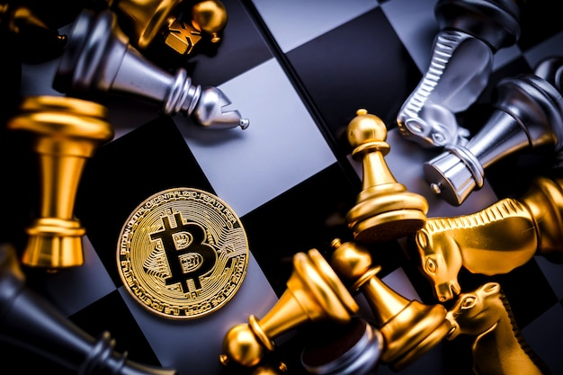 Bitcoin and chess board game Photo | Premium Download
