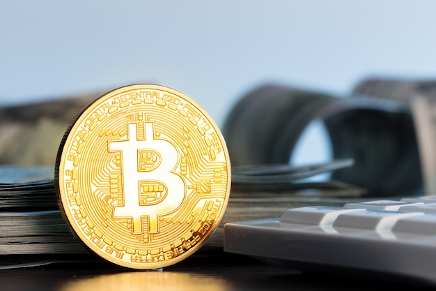 Bitcoin coin crypotocurrency the future of money Premium Photo