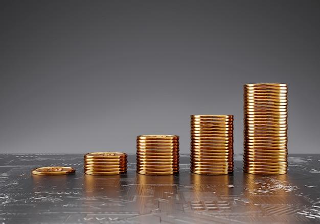 Монеты биткойн сложенная диаграмма роста, торговля на бирже криптовалют и концепция экономии финансовых средств. Premium Фотографии