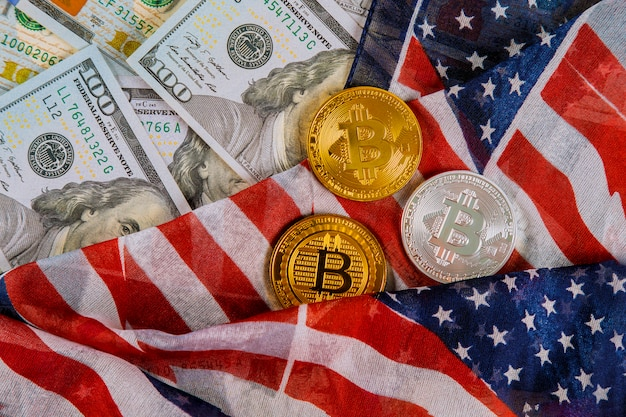 Bitcoin crypto currency and banknotes of us dollar with us flag coins virtual money Premium Photo