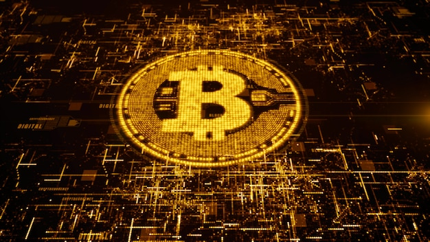 Bitcoin currency sign in digital cyberspace, business and technology concept. Premium Photo