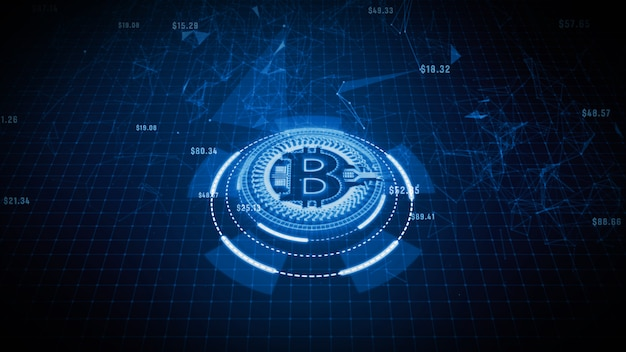 Bitcoin currency sign in digital cyberspace, business and technology network concept. Premium Photo