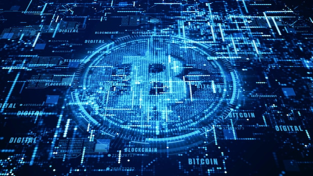 Bitcoin currency sign in digital cyberspace, network for world money Premium Photo