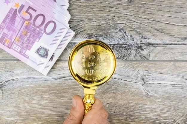 Bitcoin euro on grey background | Premium Photo