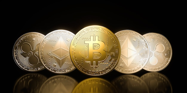 Premium Photo   Bitcoin gold coin, cryptocurrency on a black background. 3d  rendering illustration.