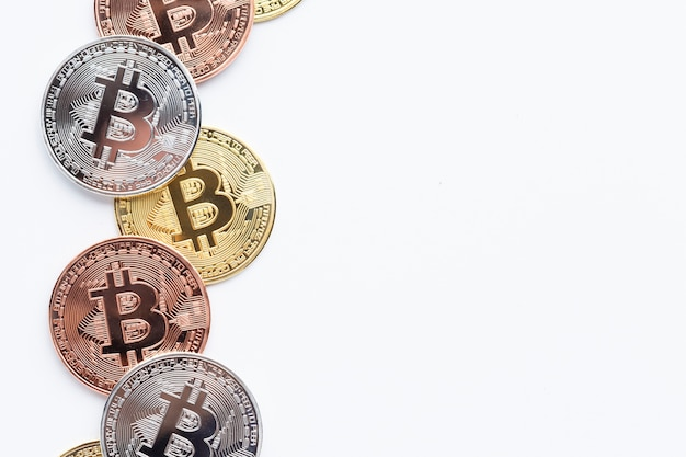 Bitcoin on plain background with copy-space Free Photo