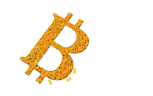 Знак биткойн, заполненный знаками золотого доллара Premium Фотографии
