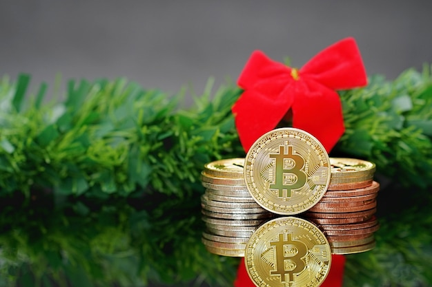 Bitcoins. bitcoins and new virtual money concept. bitcoin is a new currency. Premium Photo