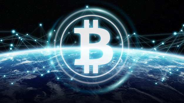 Bitcoins exchanges on planet earth 3d rendering Premium Photo
