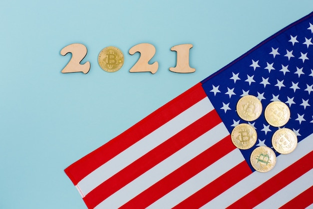 Bitcoins on the flag united states of america Premium Photo