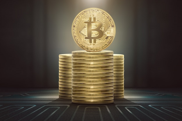 立っているbitcoinsのスタック Premium写真