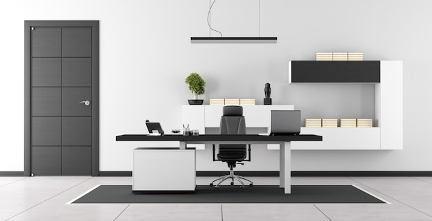 黒と白のモダンなオフィスルーム Premium写真
