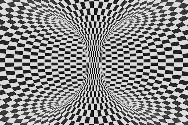 Черно-белый полосатый туннель анимация фон анимация 3d рендеринг Premium Фотографии