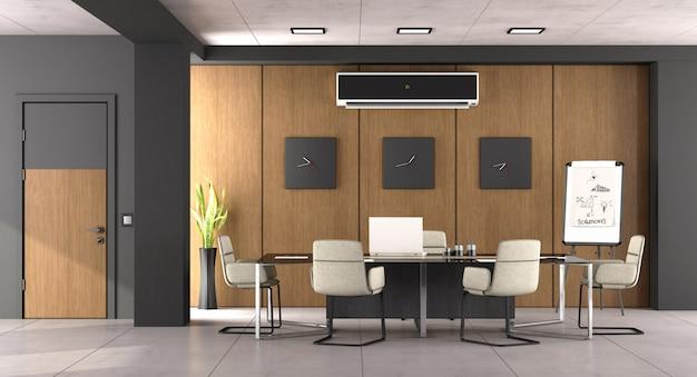黒と木製のモダンな会議室 Premium写真