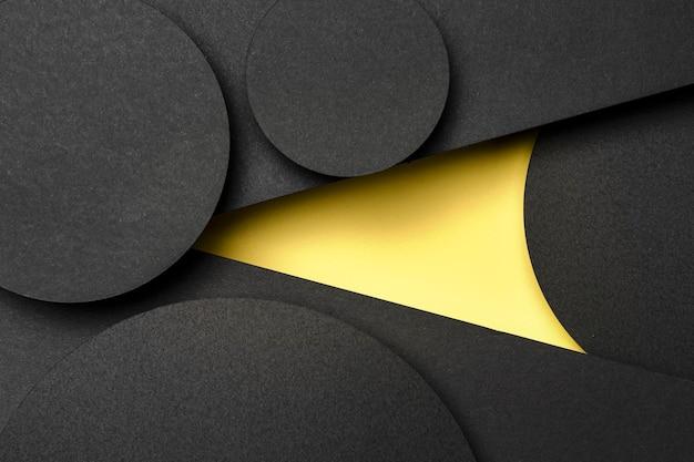 Черные и желтые слои бумаги Premium Фотографии