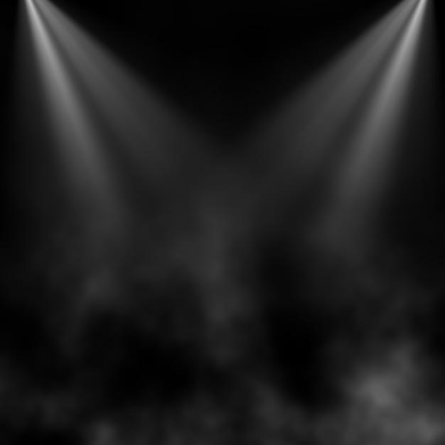 Черный фон с дымом и прожекторами Бесплатные Фотографии
