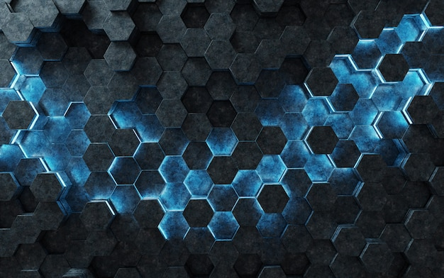 Black and blue hexagons background pattern 3d rendering Premium Photo
