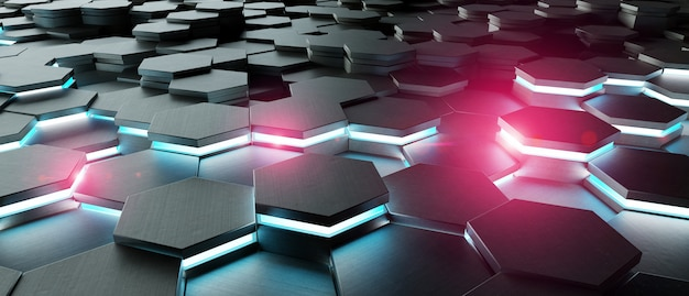 Black blue and pink hexagons background pattern 3d rendering Premium Photo