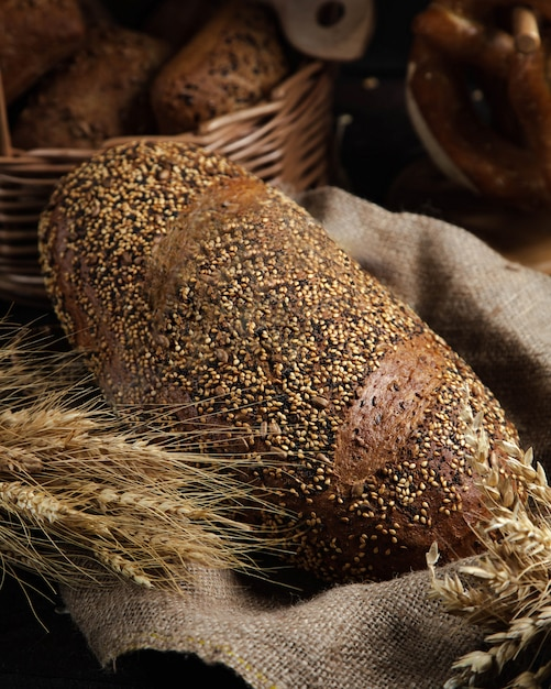 Black bread on the table Free Photo