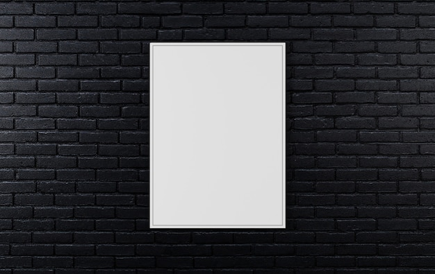 Black brick wall, dark background for design, mock up poster on wall, 3d rendering Premium Photo