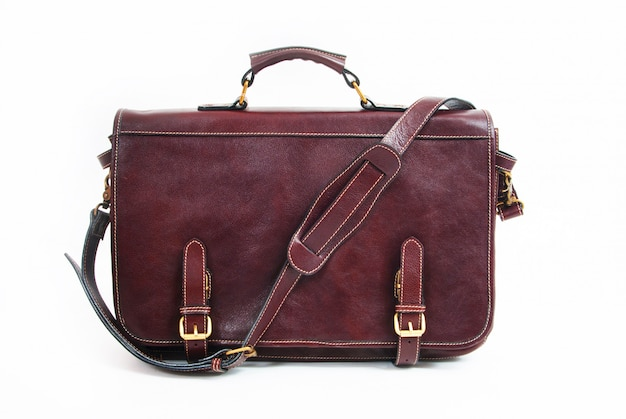 Black business briefcase isolated on white Premium Photo