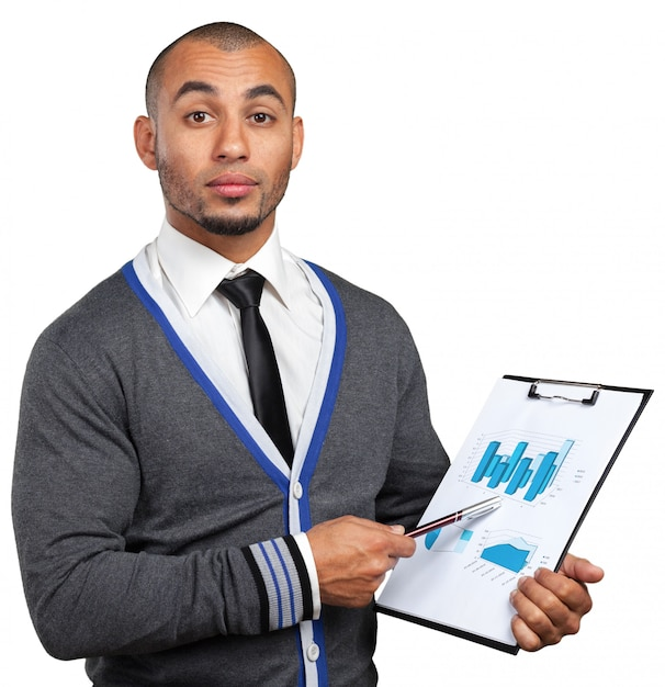 Black business man with clipboard Premium Photo