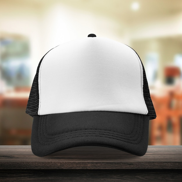 Black cap made from fabric material on dressing room Premium Photo
