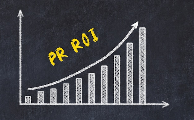 Black chalk board with drawing of increasing business graph with up arrow and inscription Premium Photo