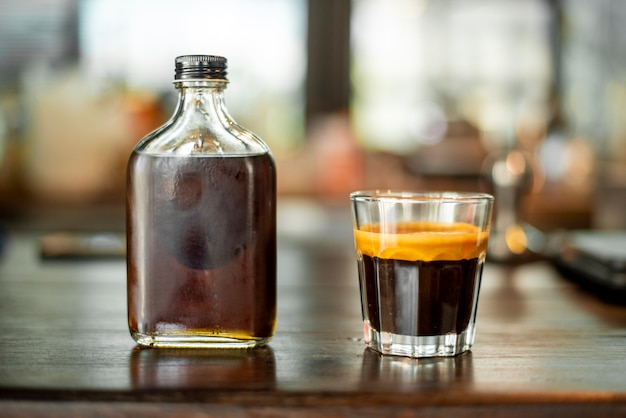 Black coffee in small shot . Premium Photo