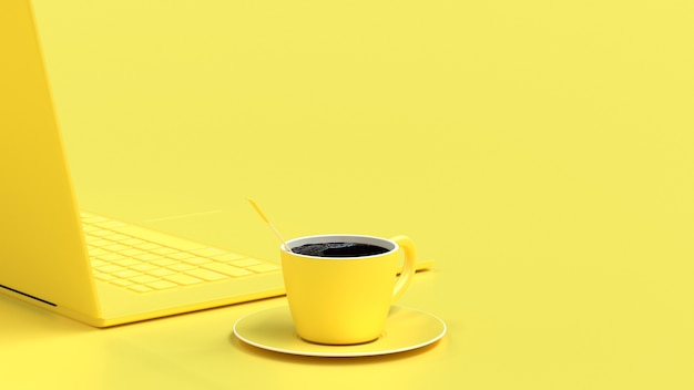 Black coffee in yellow cup on work desk Premium Photo