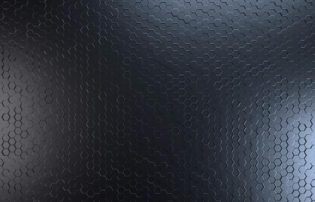 黒い色の六角形のトップビューの背景 Premium写真