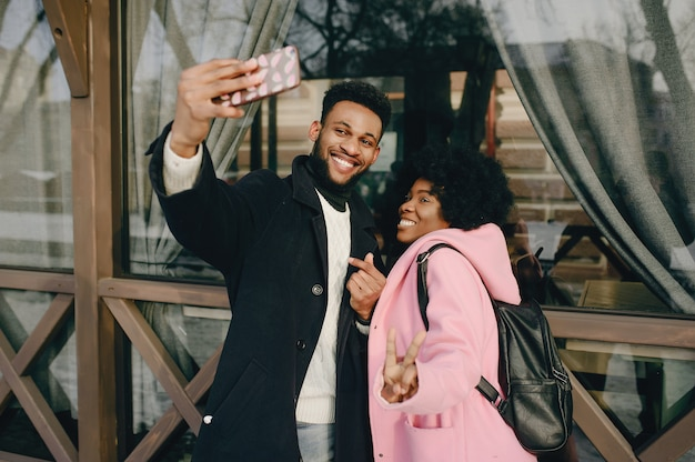Black couple in a city Free Photo