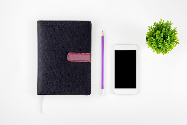 Black cover leather notebook or diary for reminder Premium Photo