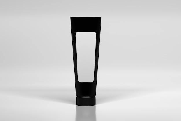 Black cream bottle with white blank label. Premium Photo