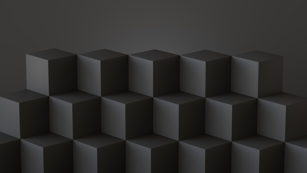Black cube boxes with dark wall background. 3d rendering. Premium Photo