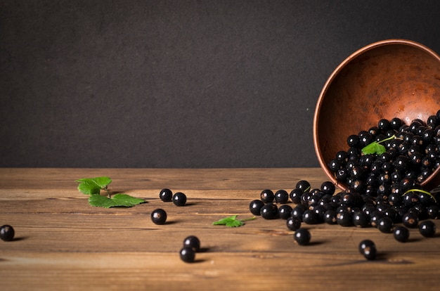 Black currant on wooden table with leaf sprig Premium Photo