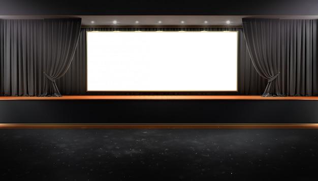 Black curtain and a spotlight. festival night show poster Premium Photo