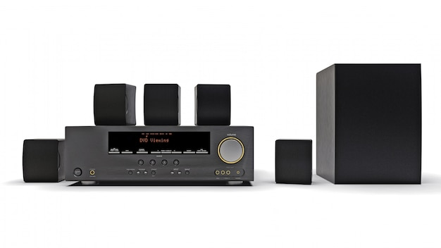 Black dvd receiver and home theater system with speakers and subwoofer Premium Photo