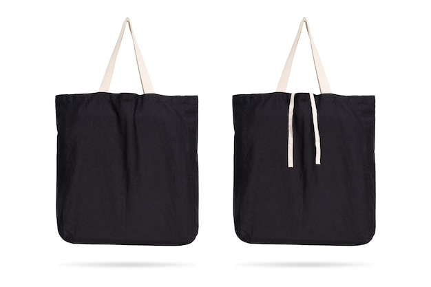 Black fabric bag on isolated background with clipping path. Premium Photo