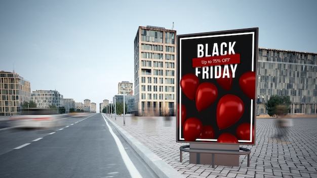 Black friday advertising billboard on the street mockup 3d rendering Premium Photo