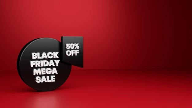 Черная пятница баннер 3d Premium Фотографии
